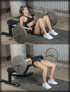 glute bridge on bench